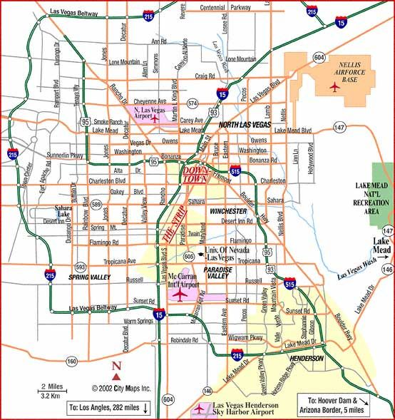 Road map of Las Vegas, City Maps Inc, 2002; categories navigation - blank road map