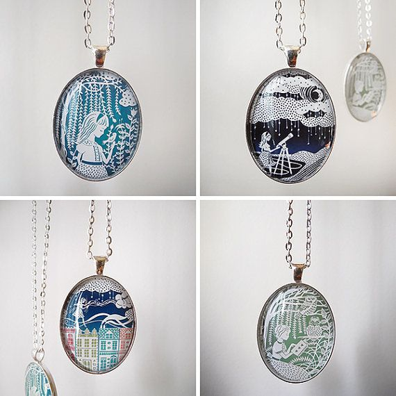 """Papercut Illustration Pendants with 24"""" Silver Chains, your choice of 4 designs. By SarahTrumbauer on Etsy."""