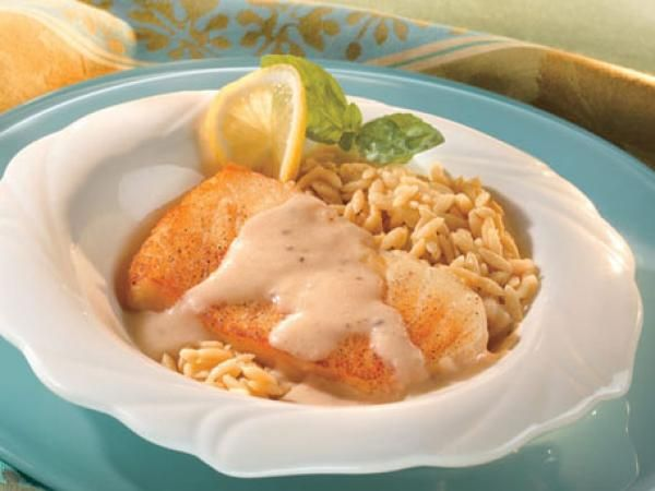 Wild Striped Bass with Lemon Orzo and Caper Emulsion | KitchenDaily.com