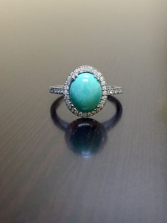 Http Rubies Work 0387 Shire Ring Turquoise Engagement 18k White Gold Halo By Dekaradesigns