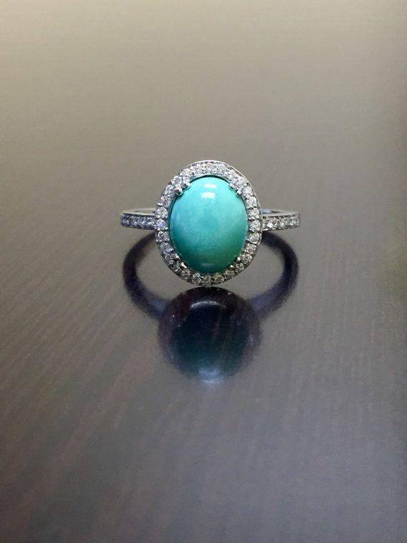 18K White Gold Halo Diamond Turquoise Engagement Ring 18K Gold