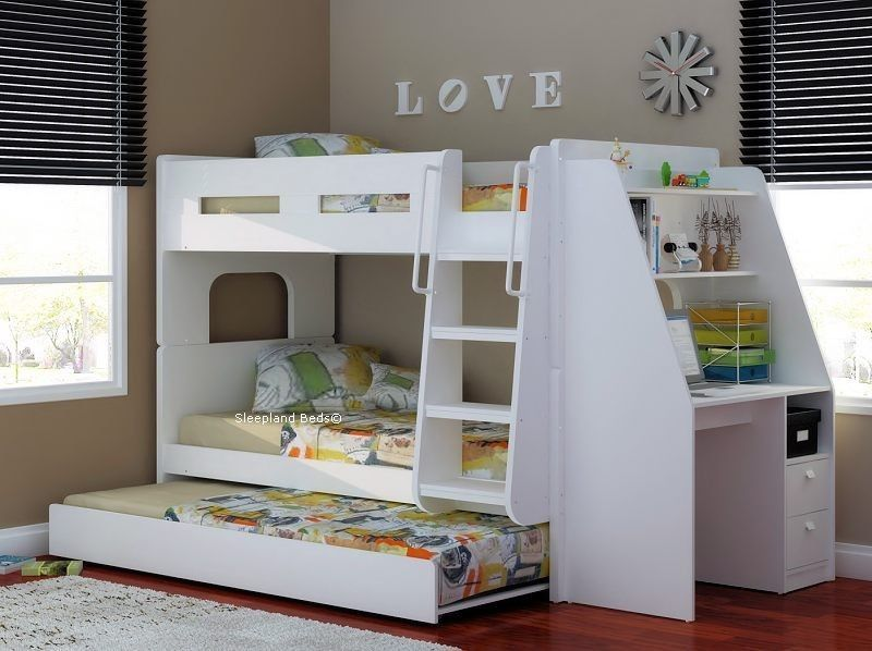 Details About Olympic Bunk Beds With Large Desk Amp Trundle