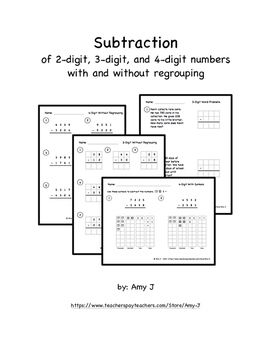 Subtraction problems with base ten blocks gridlines, and