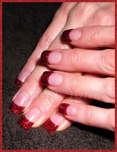 Red Glitter Acrylic Tips By Dananailjunkie Nail Art Gallery