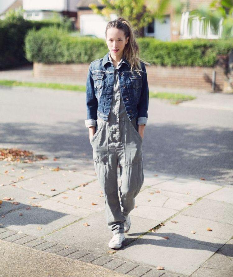cheap for discount 58505 4c829 herbst outfit mit chucks latzhose jeansjacke damen ...