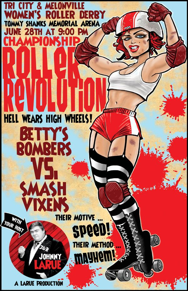 Faux Roller Derby event hosted by SCTV's Johnny LaRue. Really miss John Candy ... this seemed like something his character might do. Just a bit of fan art really ...