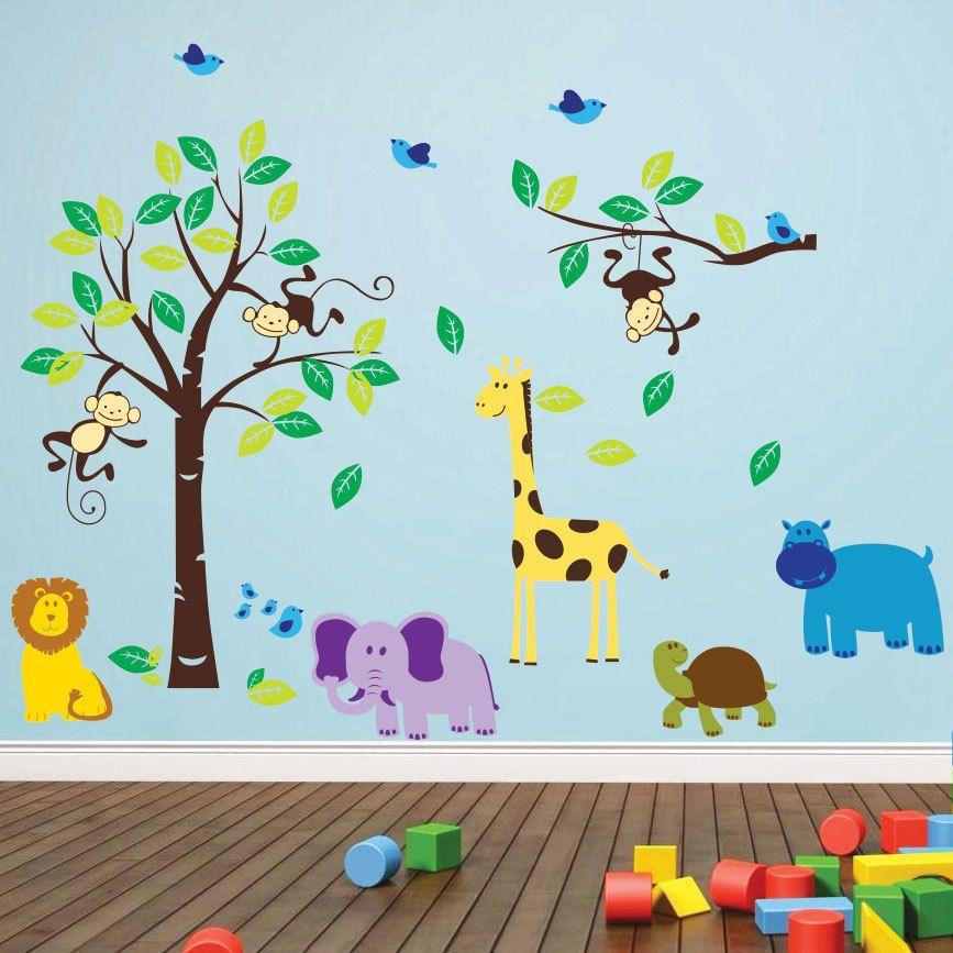 Wall stickers jungle animal nursery children kids sticker ebay decal room decor art mural