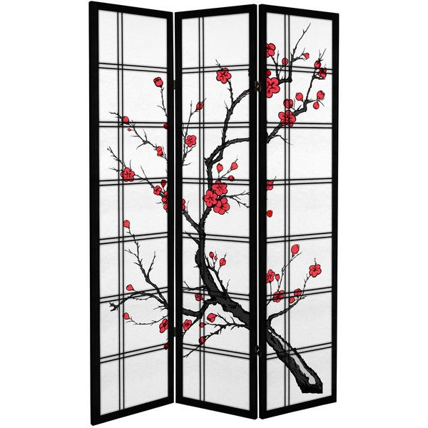 Ft Tall Canvas Cherry Blossom Room Divider RUB Liked - Cherry blossom room divider screen