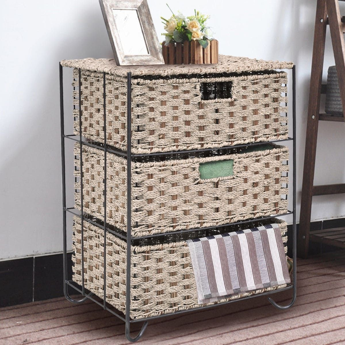 chest kitchen dp stain paper rope wicker drawers household organizer home amazon woven hand black drawer essentials com