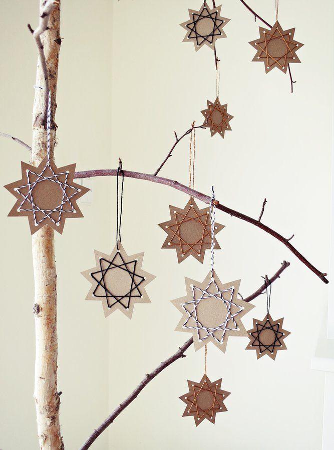 DIY Bastelidee Weihnachtssterne mit Garn