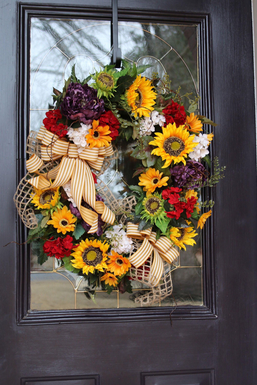 Sunflower Wreath, Spring Wreath with Sunflowers, Spring Front Door wreath, Farmhouse wreath, Spring Double Door wreath, Year Round wreath #doubledoorwreaths