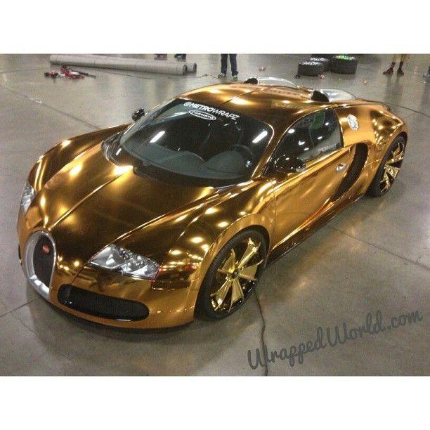 bugatti veyron wrapped in chrome gold | wow | pinterest | bugatti