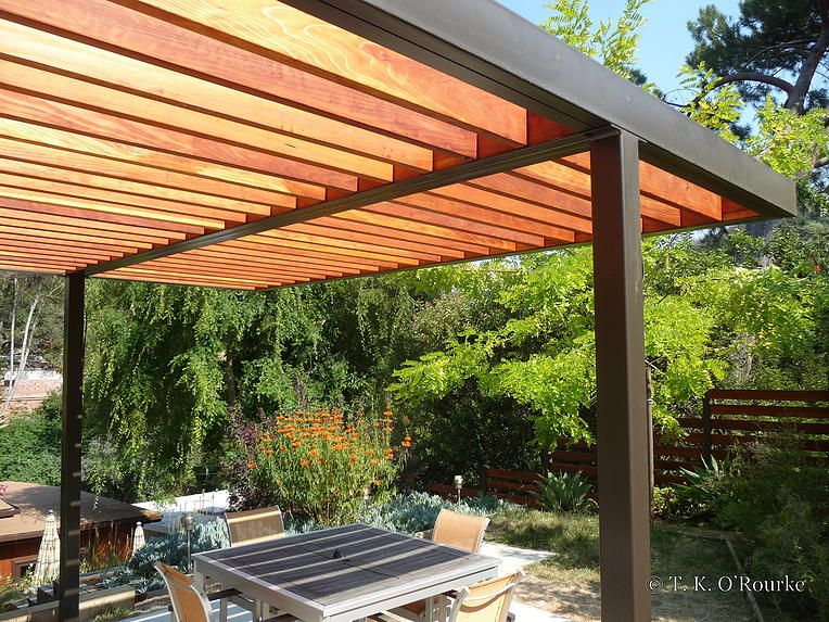modern steel and wood pergola garden outdoor rooms