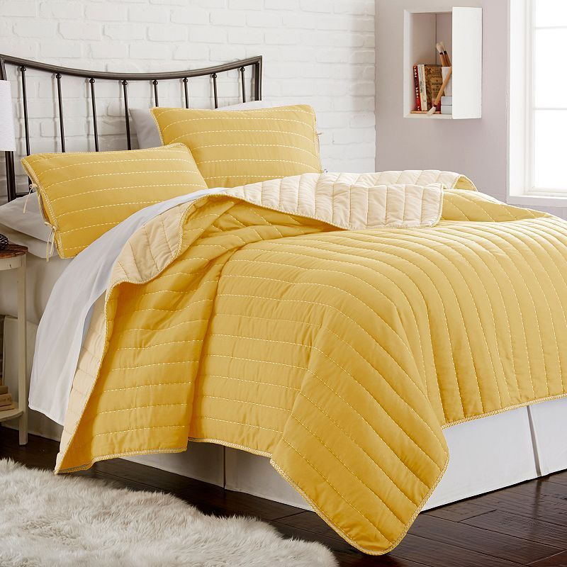 Whip Stitch Reversible 3-piece Coverlet Set, Yellow