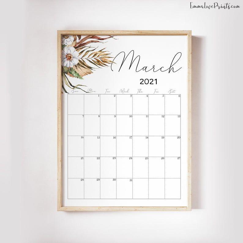 Printable Wall Calendar 2021 Watercolor Calendar 2021 | Etsy