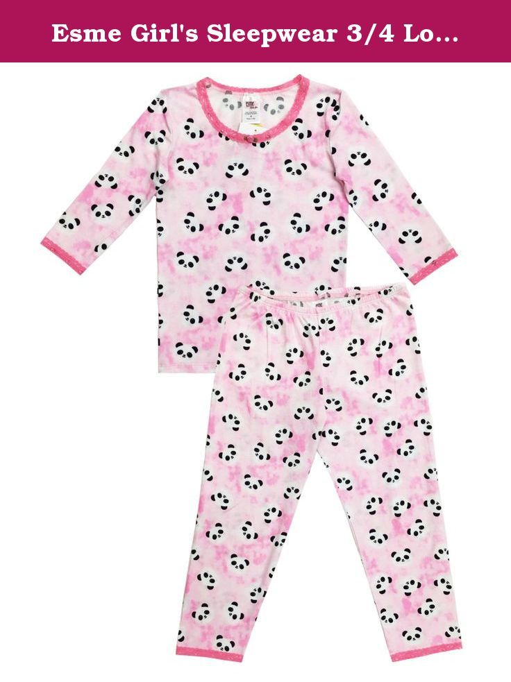 c63316e7bb Esme Girl's Sleepwear 3/4 Long Sleeve Top Leggings set-10-Panda ...