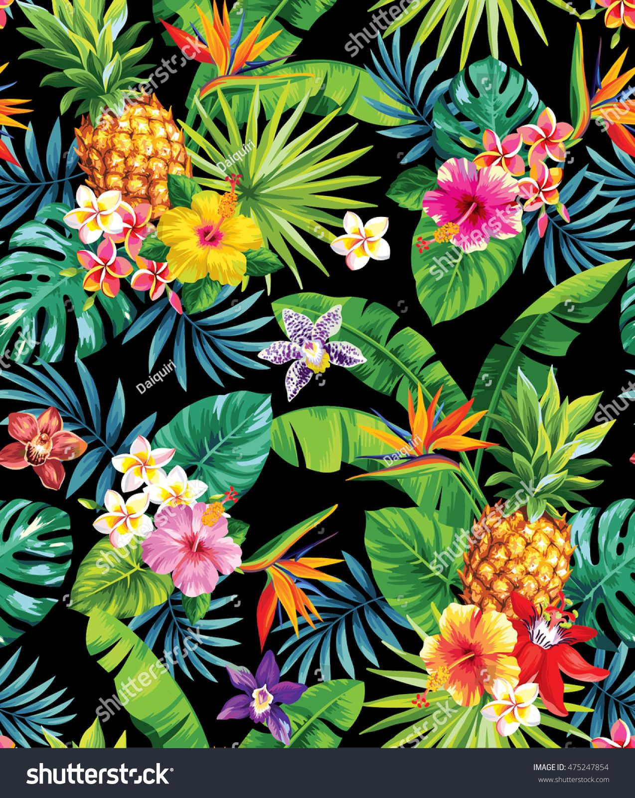 Seamless tropical pattern with pineapples, palm leaves and flowers. Vector illustration. #tropicalpattern