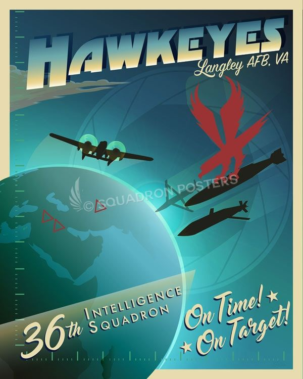 Joint Base Langley Eustis 36th Intelligence Squadron Eustis Military Poster Aviation Posters