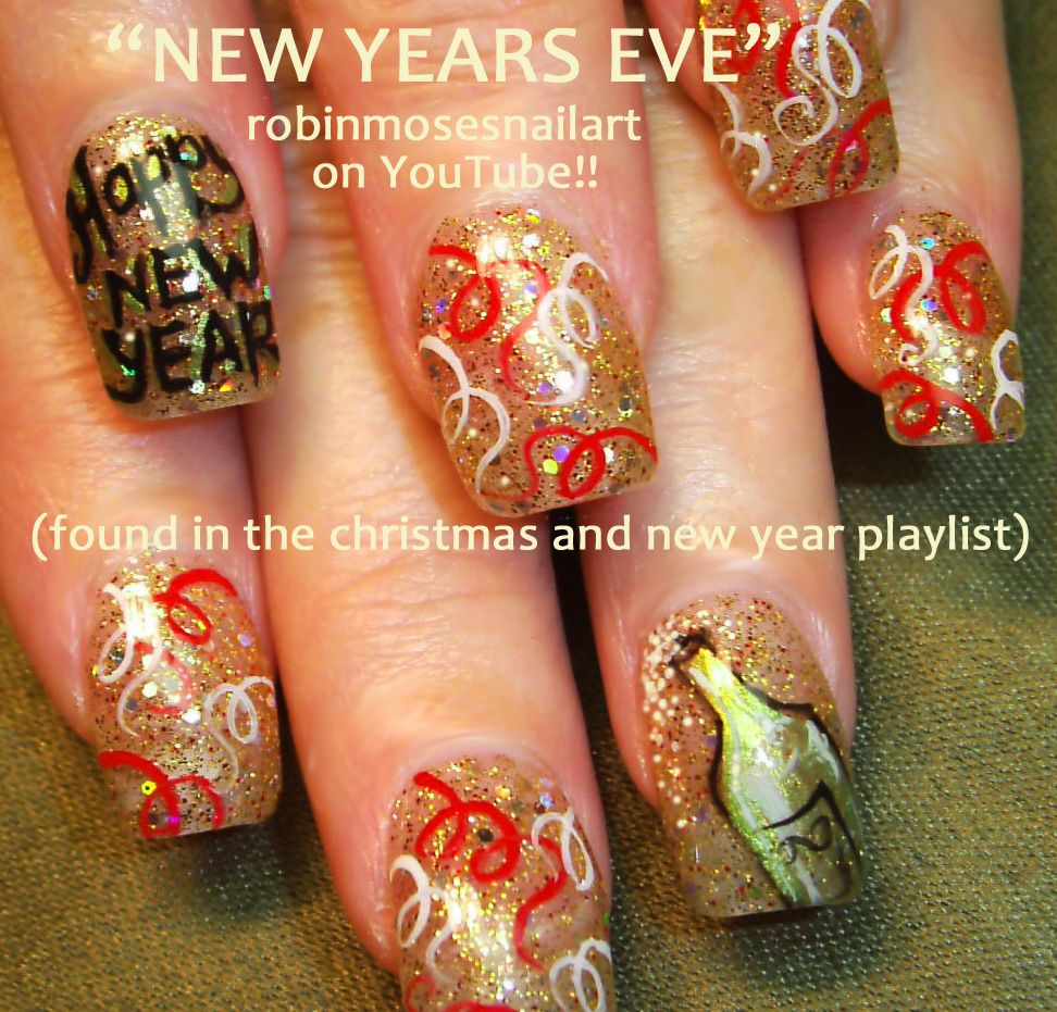 pics of new year\'s eve nail art | New Years Eve Nail Art - Gold Red ...