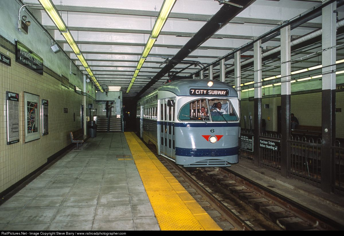 on the last day of service for pcc cars in newark  n j   newark city subway car no  6 pauses at