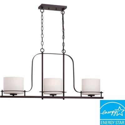 Illumine 3 Light Venetian Bronze Island Pendant With Oval Frosted Glass Shade