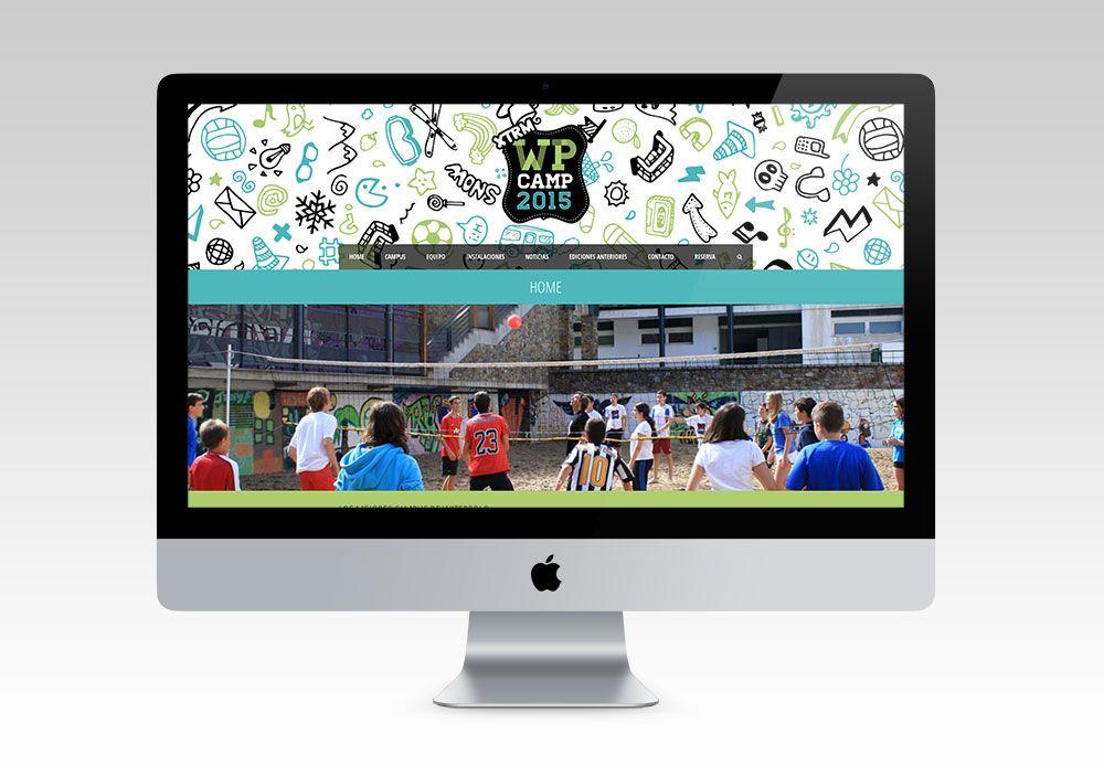 Diseño divertido e infantil para la web de campus de waterpolo WP Camp. Por FeedBack Media