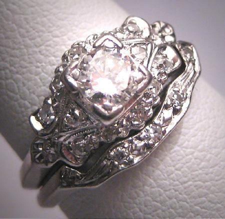 Rare Antique Platinum Diamond Wedding Ring Set W Band Art Deco