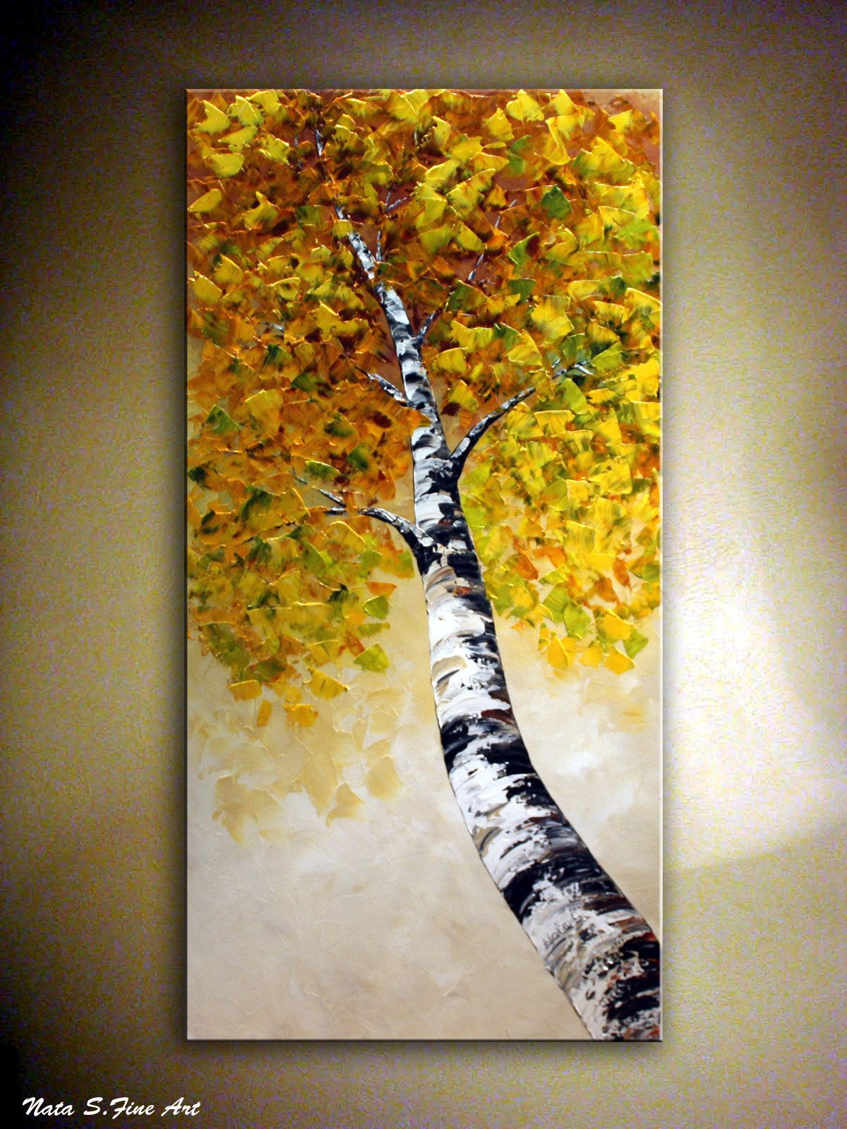 Birch Tree Painting, Fall Tree Painting, Abstract Texture Art, Aspen Tree Painting, Large Autumn Painting, Home/Office Wall Decor by Nata S #falltrees