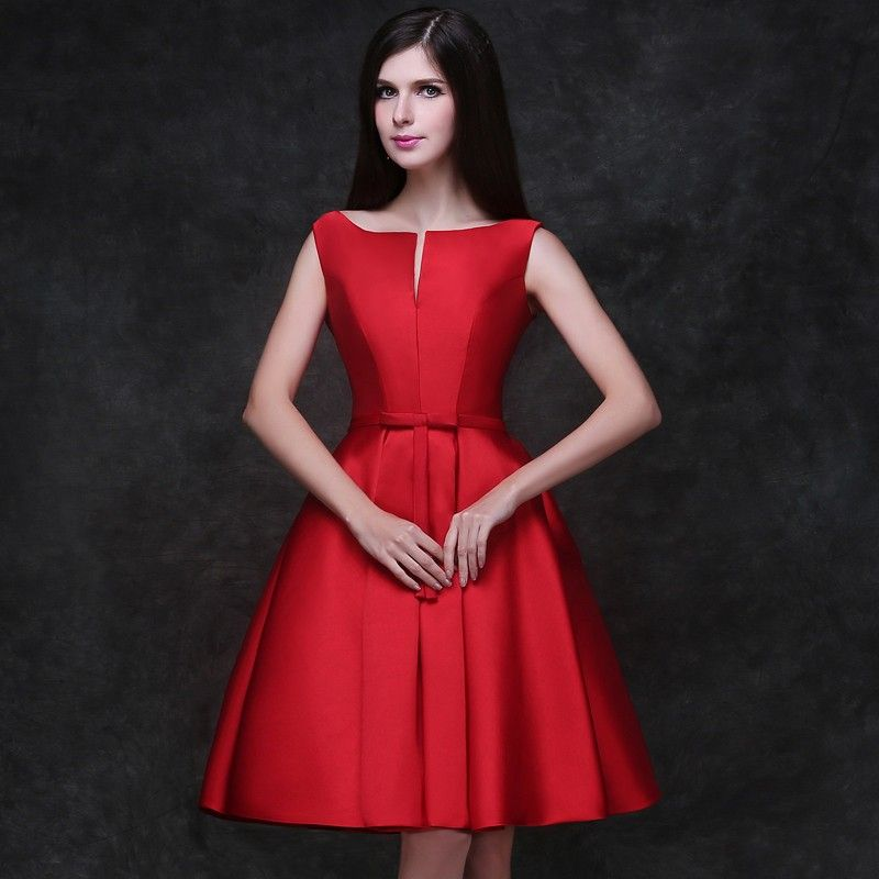 Red Satin Homecoming Dresses Short Cocktail Prom Dresses Lace-Up ...