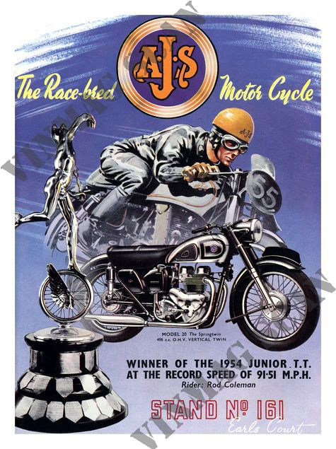 Motorcycle Ad - 1954 AJS