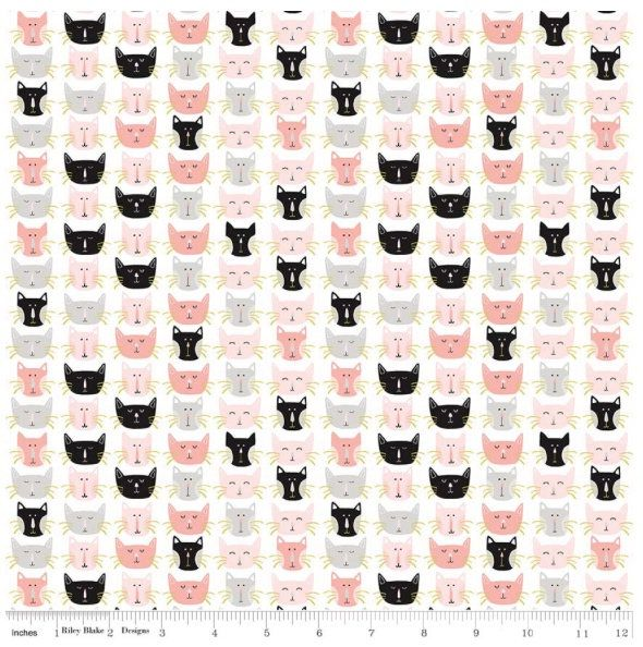 Half Metre Metre or More 100/% Cotton Meow Pink Cats Riley Blake Fabric FQ