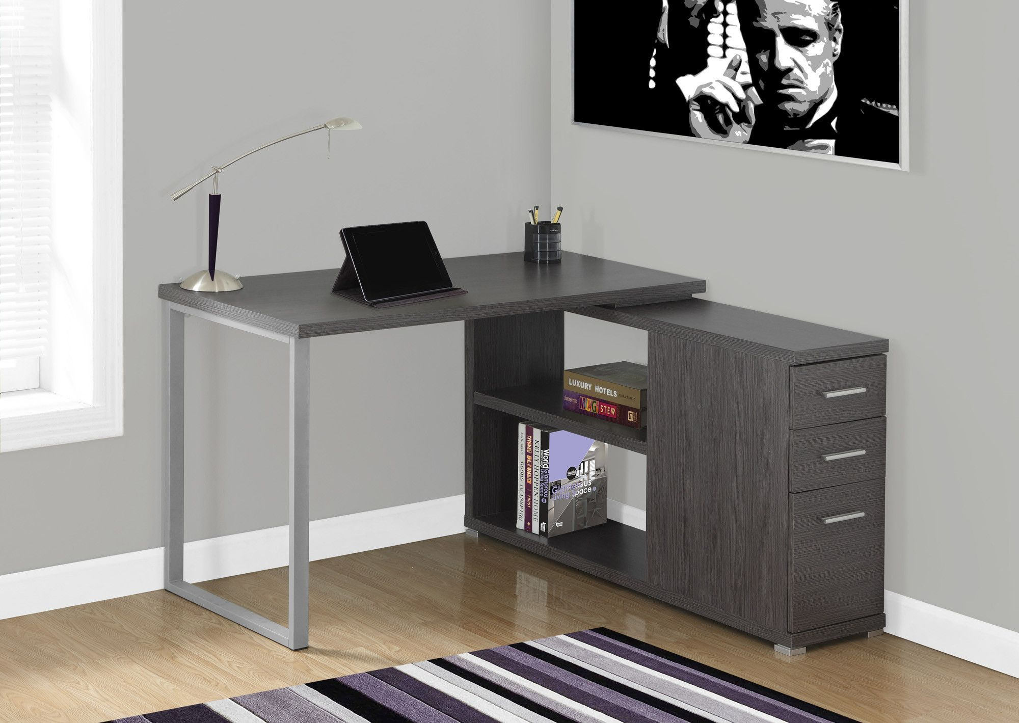 Modern Dark Gray L Shaped Desk With Drawers Shelving Computer Desk Grey L Shaped Corner Desk Contemporary Home Office