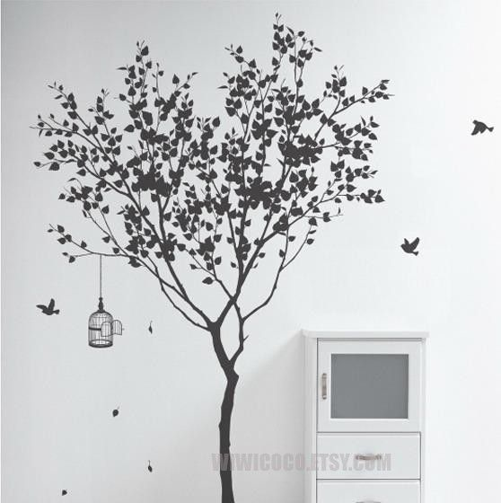 Merveilleux Tree And BirdsVinyl Wall Decal Tree Wall Decals Wall By FunnyDecal