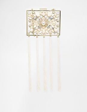 River Island White Embellished Box Clutch With Tassels