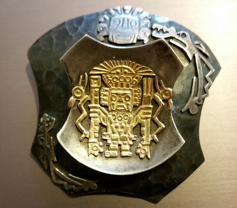 Viracocha Peruvian Inca God 925 Sterling Silver 18k Gold