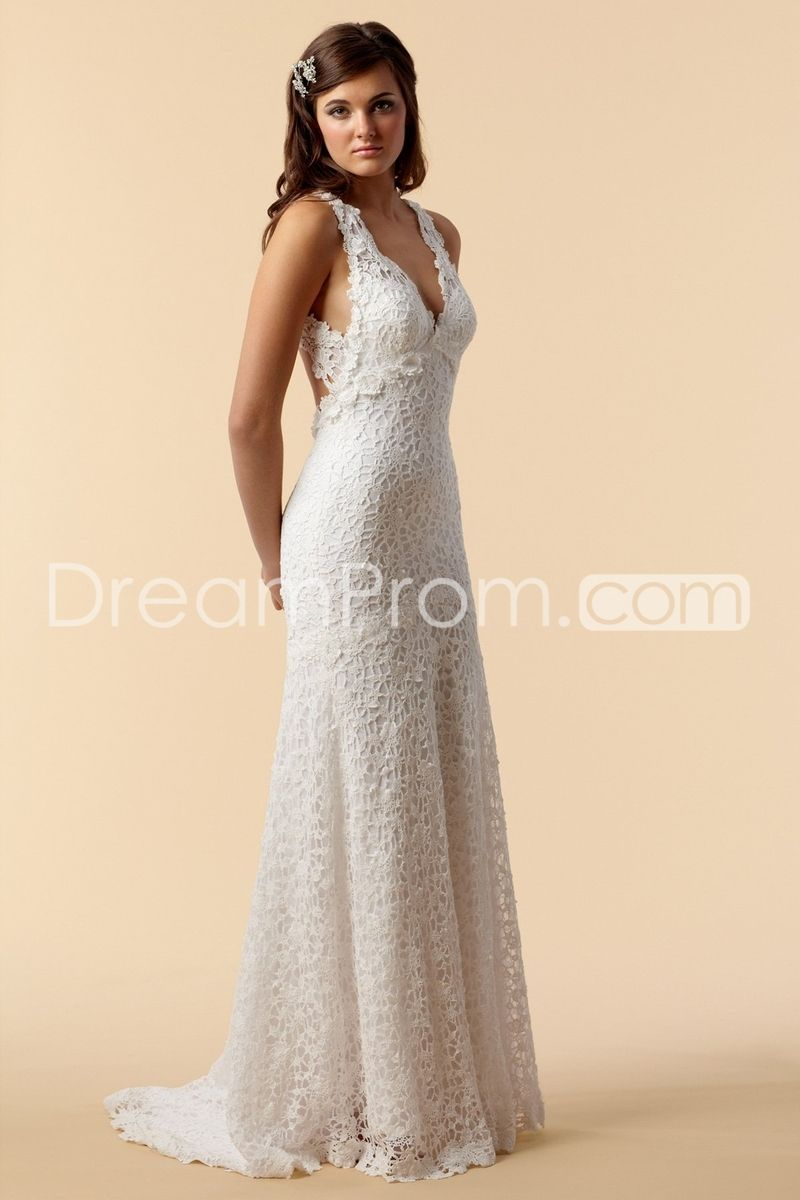 Amazing sheathcolumn vneck floorlength court lace wedding dress i
