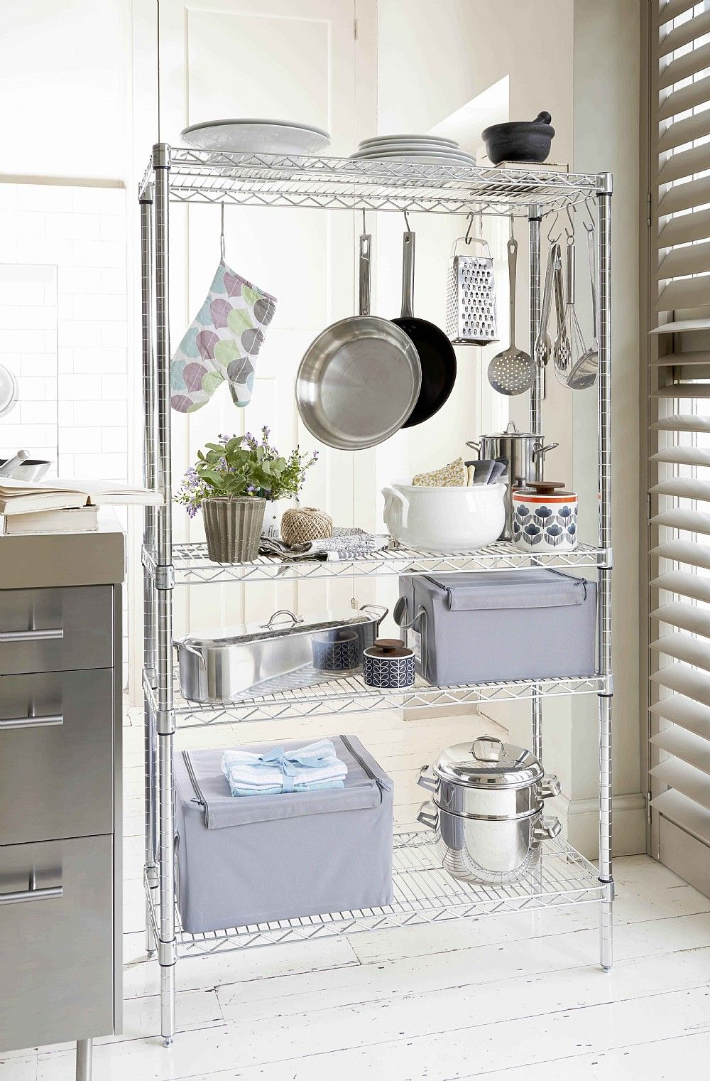 Chrome Kitchen Rack Accessorize with hooks to hang pans