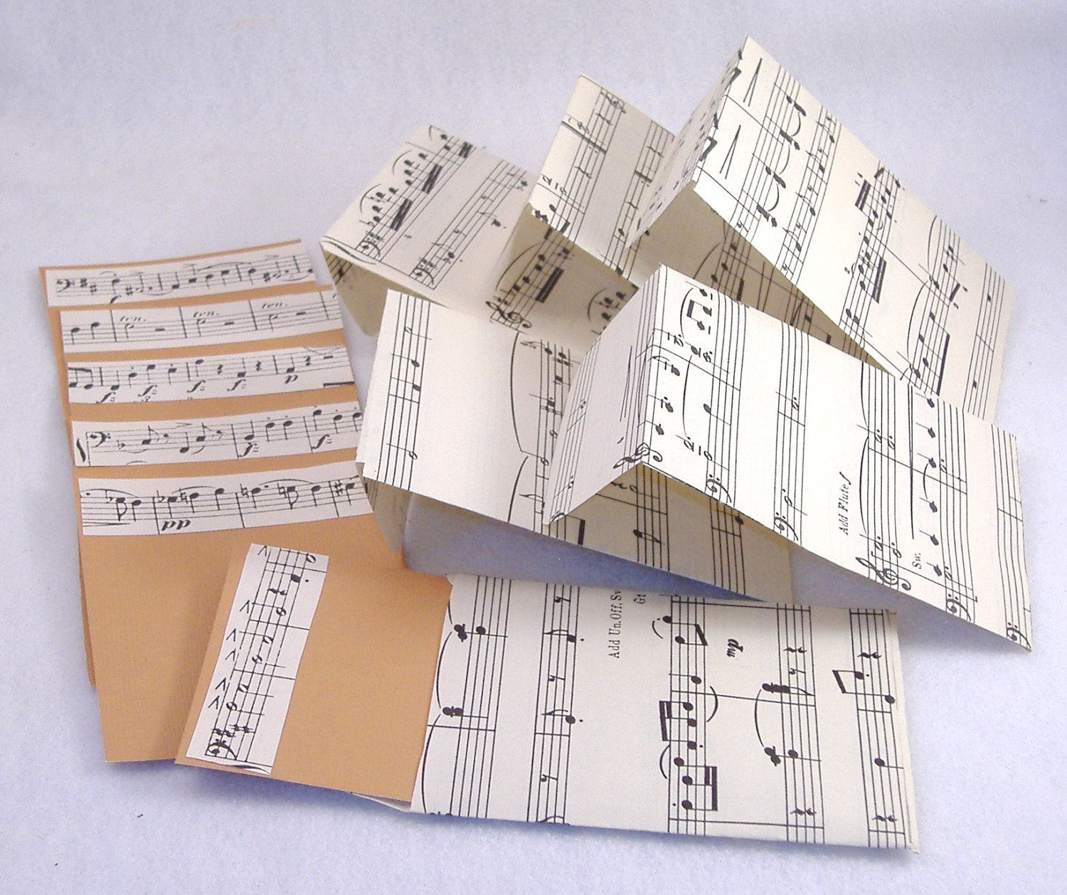 6 Blank Decorated Cards & Matching Envelopes - Repurposed Music Score Paper and Light Brown Flat Card. $3.75, via Etsy.