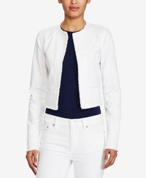 Lauren Ralph Lauren Frayed Denim Jacket - White XS