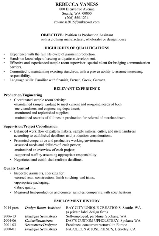 Resume Sample Production Assistant  Resume Samples