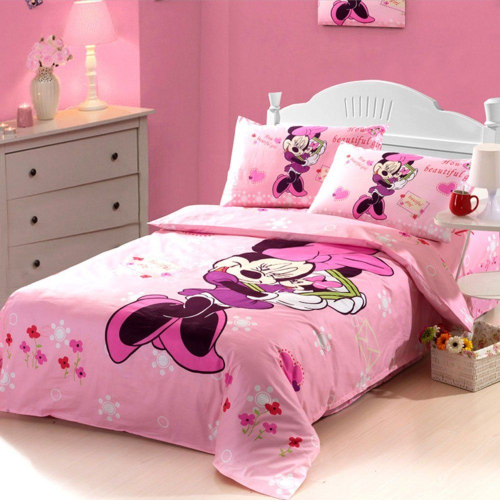 Cartoon Duvet Cover Set Minnie Mouse Bedding Disney Sets Kids Toddler Soft Bed Sheets Full Size 3pcs Gift Idea Price