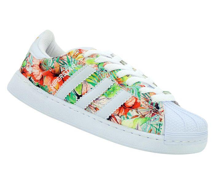 T�nis Feminino Adidas Superstar Branco e Floral Amarelo MOD:14355