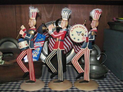 NEW~Folk Art Bethany Lowe Patriotic Americana Parade Marching Band of Three