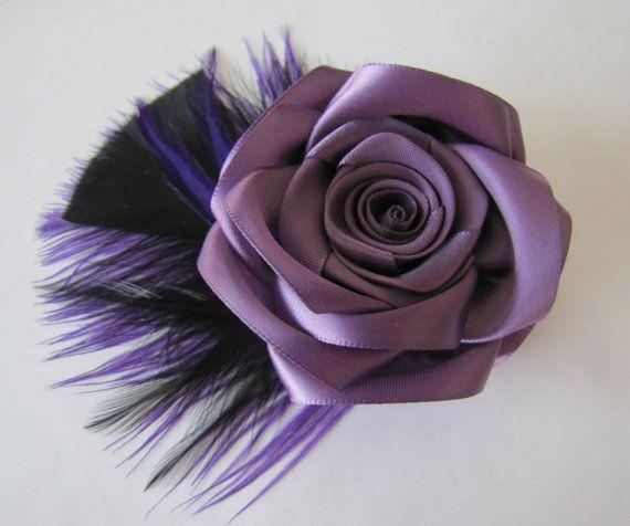 Purple Feather Fascinator / Purple Hair Flower by LovelyMadeGifts, $23.99