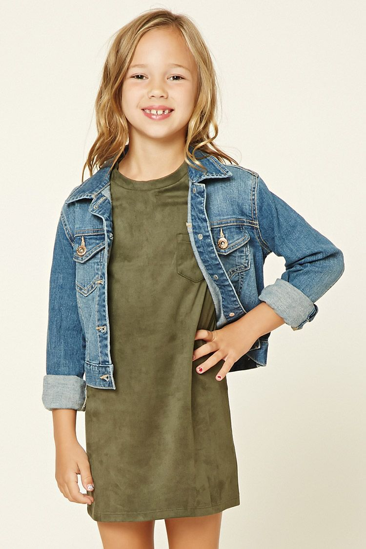 Forever 21 Girls - A knit faux suede T-shirt dress featuring an A-line silhouette, a patch pocket, a round neckline, and short sleeves.