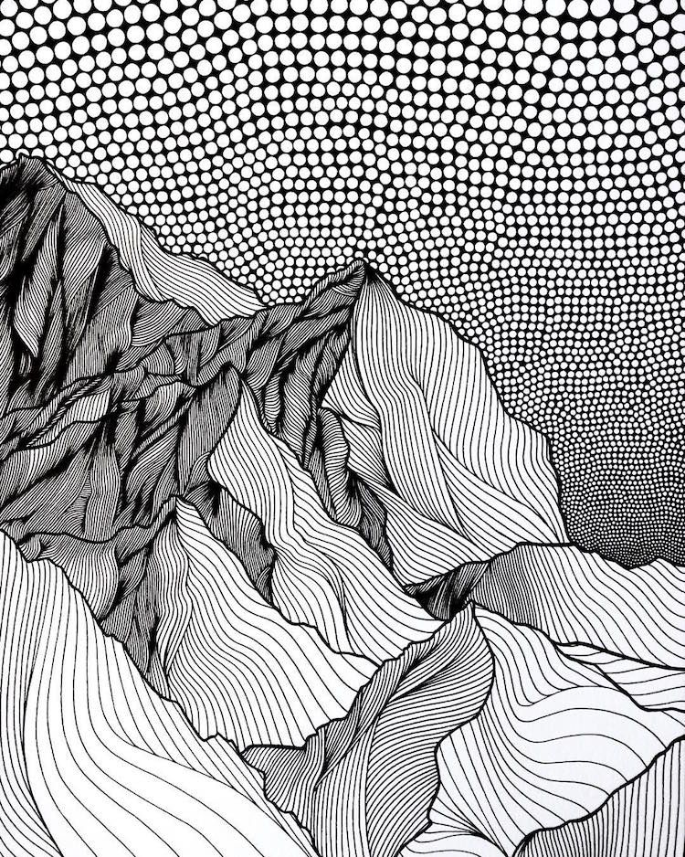 Artist Draws Countless Lines and Dots to Capture the Majestic Beauty of Mountains #pattern
