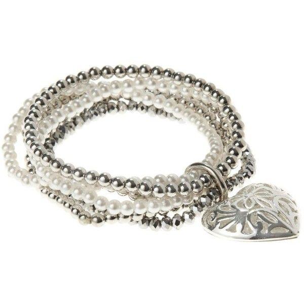 Set of six silver stretch bracelets (17 AUD) ❤ liked on Polyvore featuring jewelry, bracelets, women's jewellery, women+jewellery, silver bead charms, charm jewelry, silver bangles, silver jewellery and silver jewelry