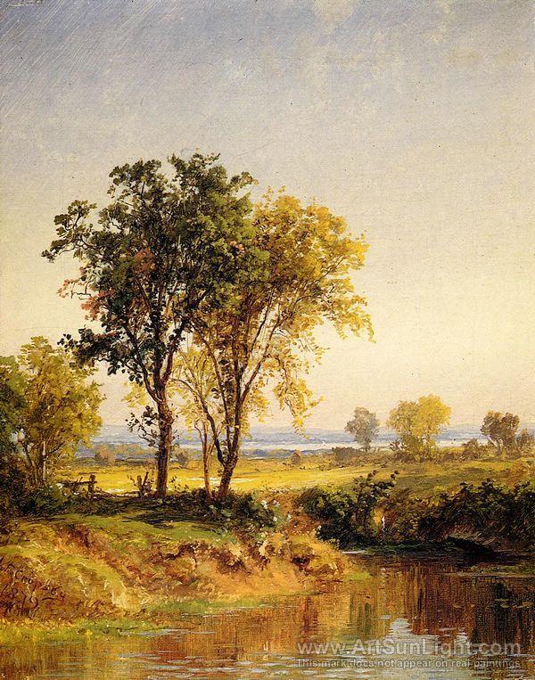 Jasper Francis Cropsey S Oil Painting The Pond In Springtime Oil Painting Landscape Landscape Art Painting Landscape Art