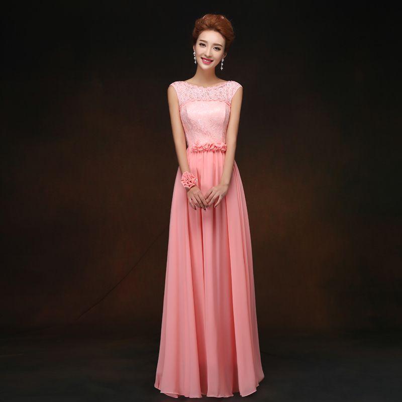 Color-Coral-dama-De-honor-Vestidos-delgados-largo-más-el-tamaño-De ...