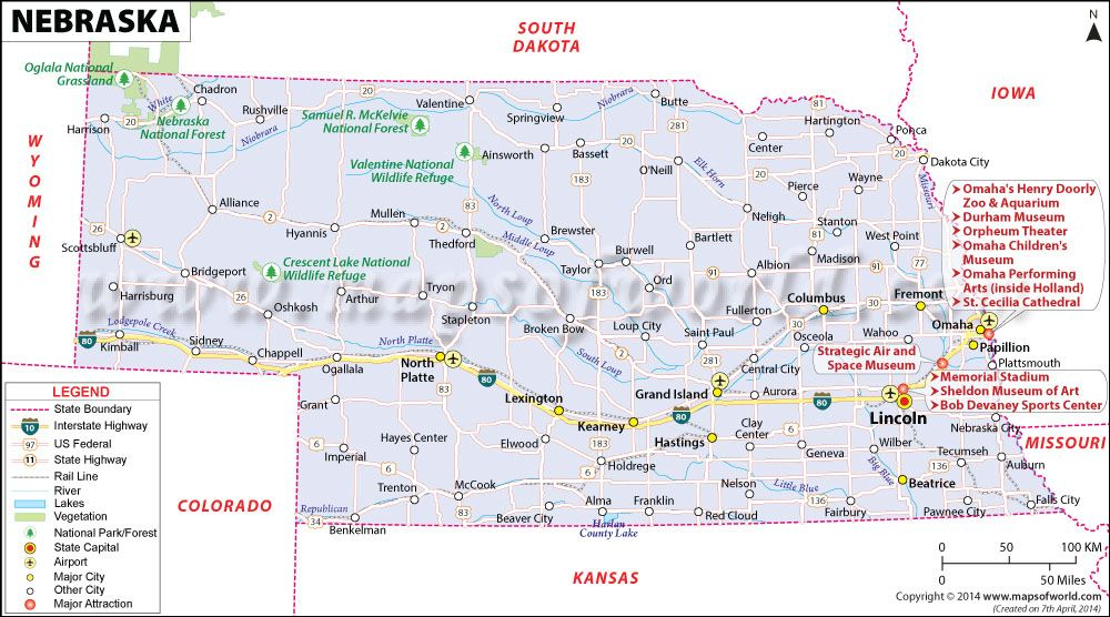 nebraska map showing the major travel attractions including cities